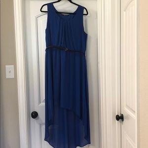 High - Low Royal Blue Dress with Black Belt
